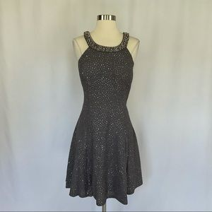 Betsy & Adam Sheer Back Sequined Fit & Flare Dress